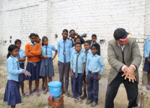 Demonstration about hand washing practice to school children under the sanitation and hygiene campaign programme in Bardiya district in mid-western development region of Nepal.