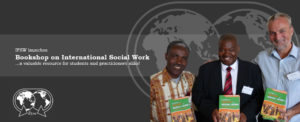 Launching 'Foretelling the History of Social Work: A Botswana Perspective'. With IFSW African Regional President Daniel Asiedu, Author Kgomotso Jongman, and Rory Truell