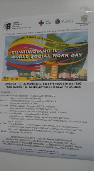 World Social Work Day 2017 event schedule in Italy