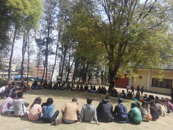 World Social Work Day 2017 Nepal - social workers seated outside in a circle