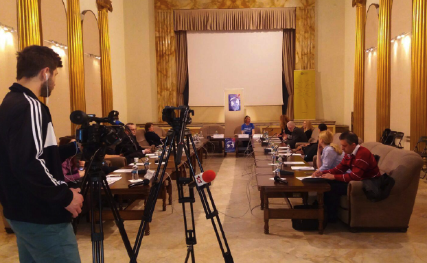 Cameraman filming World Social Work Day 2017 Romania event