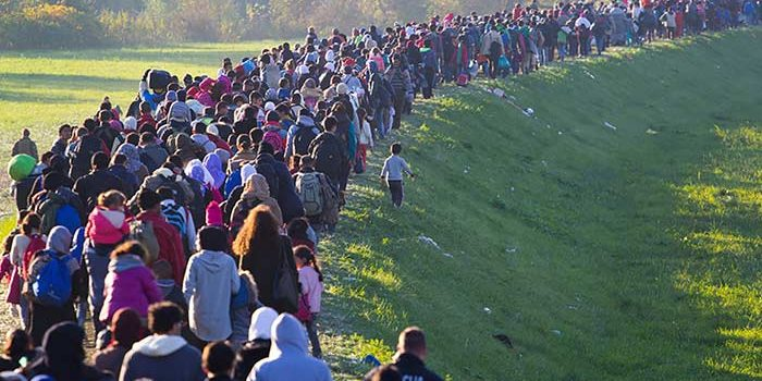 A long line of refugees