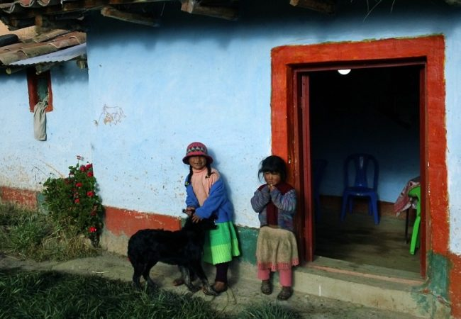 children outside house in bolivia