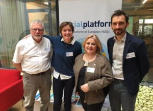 IIan Johnston (IFSW Europe External Representative at Social Platform), Jana Hainsworth (President re-elected of Social Platform and Eurochild President), Ana I. Lima (IFSW Europe President), & Maciej Kucharczyk (Vice-president re-elected at Social Platform)
