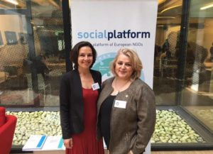 Kélig Puyet, new Executive Director at Social Platform, was congratulated by Ana Lima at the event to celebrate her new executive role